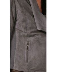 Vince - Gray Drape Paper Weight Suede Jacket - Lyst