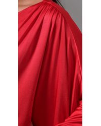 Halston - Red Wrap Long Dress - Lyst