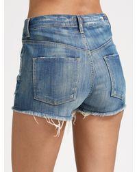 Citizens of Humanity - Blue High-waist Denim Shorts - Lyst