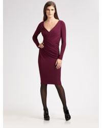 Donna Karan | Purple Jersey V-neck Dress | Lyst