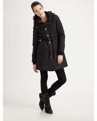 Joie | Black Ruched Puffer Coat | Lyst