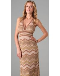 M Missoni | Natural Lurex Wave Long Halter Dress | Lyst
