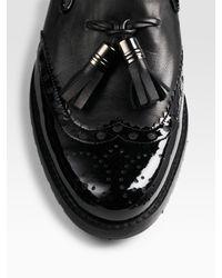 Stuart Weitzman   Black Tasseled Leather Loafers   Lyst