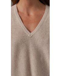 BCBGMAXAZRIA | Natural Oversized V Neck Sweater | Lyst