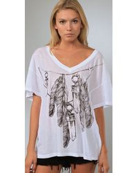 Wildfox | White Amulet Chain V Neck Tee | Lyst