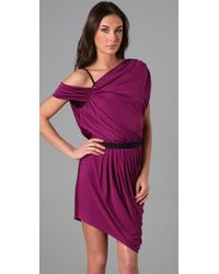 Catherine Malandrino - Purple One Shoulder Dress with Leather Strap and Side Draping - Lyst