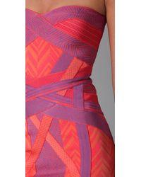 Hervé Léger - Purple Geometric Jacquard Bandage Dress - Lyst