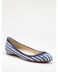 Christian Louboutin | Blue Sonietta Cotton Gingham Ballet Flats | Lyst