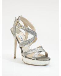 0e07130c1e3 Lyst - Jimmy Choo Vamp Glitter-covered Leather Sandals in Metallic