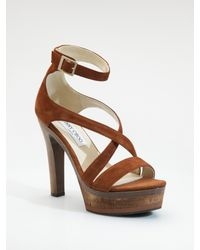 Jimmy Choo | Brown Volume Suede Sandals | Lyst