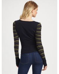 Marc By Marc Jacobs - Blue Natalie Cotton/cashmere Striped Sweater - Lyst