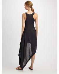 Michael Kors Blue Linen Gauze Asymmetrical Tank Dress