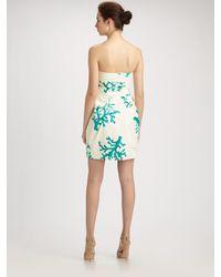 Boutique Moschino - White Coral Poplin Strapless Dress - Lyst