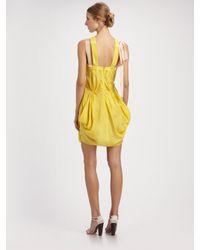 Nina Ricci - Yellow Draped Silk Ribbon Dress - Lyst