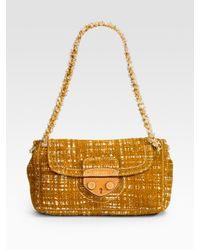 Prada | Yellow Tweed Shoulder Bag | Lyst