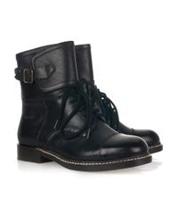 See By Chloé | Black Derby Lace-up Leather Boots | Lyst