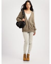 T By Alexander Wang | Gray Pointelle Hooded Cardigan | Lyst