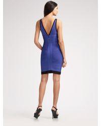 Hervé Léger - Blue Colorblocked Double V-neck Dress - Lyst
