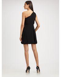 Shoshanna - Black Matte Crepe One Shoulder Dress - Lyst