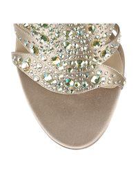 Gucci | Silver Crystal-embellished Silk-satin Sandals | Lyst