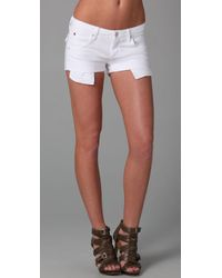 Hudson Jeans | White Cuffed Denim Shorts | Lyst