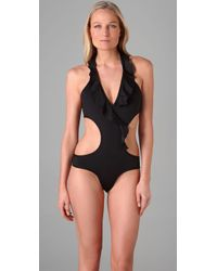 Inca | Black Olivia Ruffle One Piece | Lyst