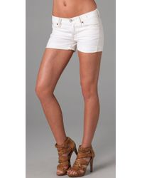 Madewell | White Denim Midi Shorts | Lyst