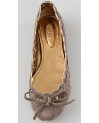 See By Chloé | Gray Scalloped Suede Flats | Lyst