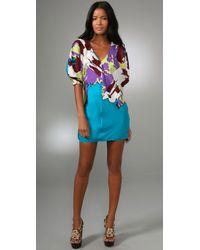 Tibi | Blue Behati V-neck Dress Teal Multi | Lyst