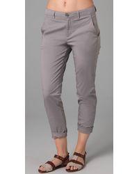 VINCE | Gray Stretch Cotton Boyfriend Pants | Lyst