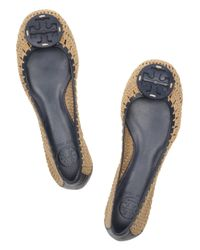 Tory Burch - Brown Rory Leather and Crochet Flats - Lyst