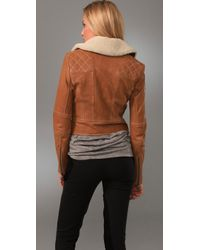 Adam Lippes - Brown Aviator Jacket with Shearling Collar - Lyst