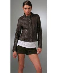 Vince - Gray Leather Biker Jacket - Lyst