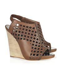 Proenza Schouler   Brown Wicker-effect Leather Wedge Sandals   Lyst