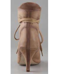 Ash Iggy Open Toe Lace Up Booties In Camel Natural Lyst