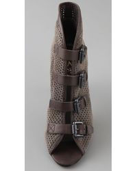 Ash   Gray Sparrow Perforated Suede Fiona Buckle Booties   Lyst