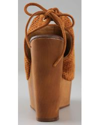 Jeffrey Campbell - Brown Snickers Open Toe Pumps On Wooden Wedge - Lyst