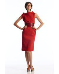 Oscar de la Renta | Red Sleeveless Cowl Neck 24 Dress | Lyst