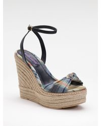 Ralph Lauren Collection | Blue Fistina Madras Wedge Espadrilles | Lyst
