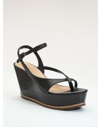 Derek Lam | Black Strappy Leather Wedge Sandals | Lyst