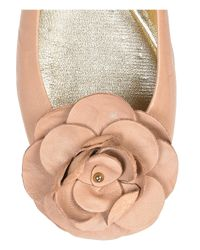 Jimmy Choo | Natural Warwick Leather Ballerina Flats | Lyst