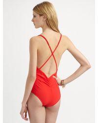 Oscar de la Renta - Red Ruffled One-piece Swimsuit - Lyst