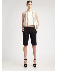 Prada Linea Rossa | Natural Chambray Stripe Cropped Shirt | Lyst