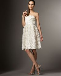 Carmen Marc Valvo - White Rosette Cocktail Dress - Lyst