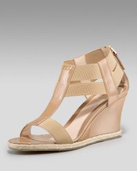 Fendi | Natural T-strap Elastic Wedge | Lyst