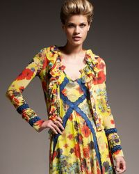 Jean Paul Gaultier - Yellow Flower-print Short Cardigan - Lyst