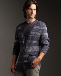 John Varvatos | Purple Long Sleeve Fairisle Cardigan for Men | Lyst