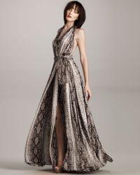 Lanvin | Multicolor Satin Python-print Gown | Lyst