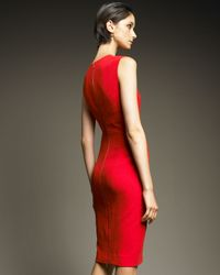 Narciso Rodriguez - Red Seam-detail Sheath Dress - Lyst