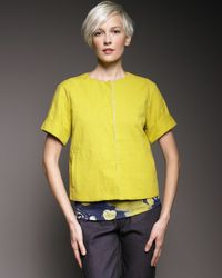 Piazza Sempione - Yellow Cropped Snap-front Jacket - Lyst